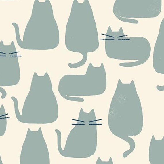Home by Sarah Golden for Andover Fabrics - Fat Quarter of Whiskers in Chat Azure -- Cotton