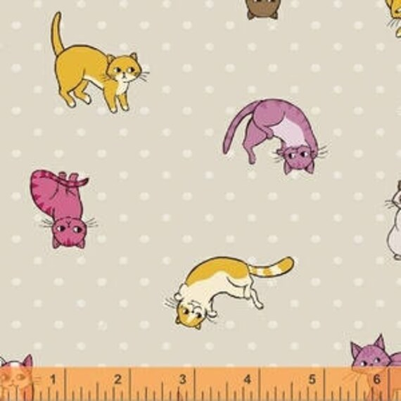 Caturday by Felice Regina for Windham Fabrics - Kitty Toss in Tan
