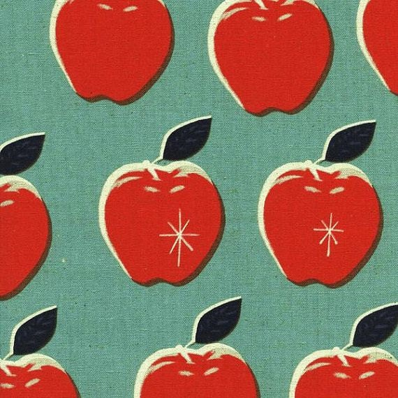 Apple CANVAS in Blue and Red  from the Picnic collection by Melody Miller for Cotton and Steel
