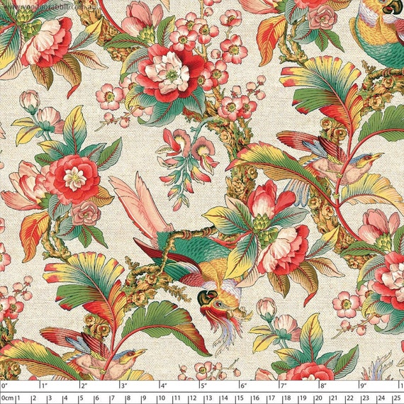 Chinoiserie by Devonstone,  55/45% Linen/Cotton Canvas -- 25cm -- 150cm Wide Width