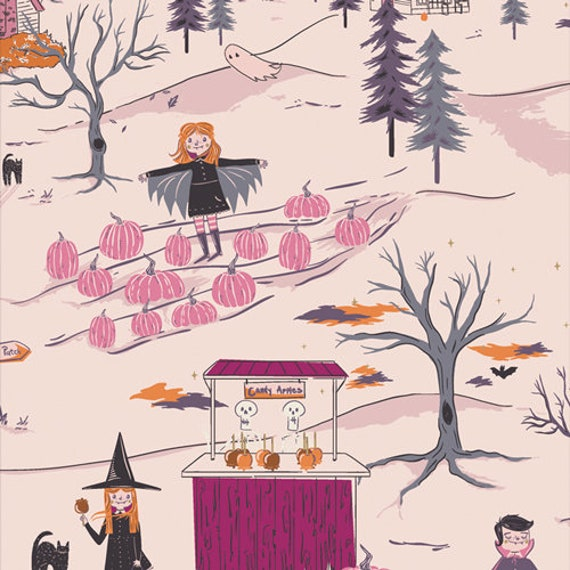 Spooky and Sweeter by Art Gallery Fabrics - Fat Quarter of Peppermint's Tale Dusk