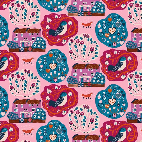 Homeward by Monkia Forsberg for Anna Maria Horner Conservatory with Free Spirit Fabrics - Fat Quarter My Block in Pink