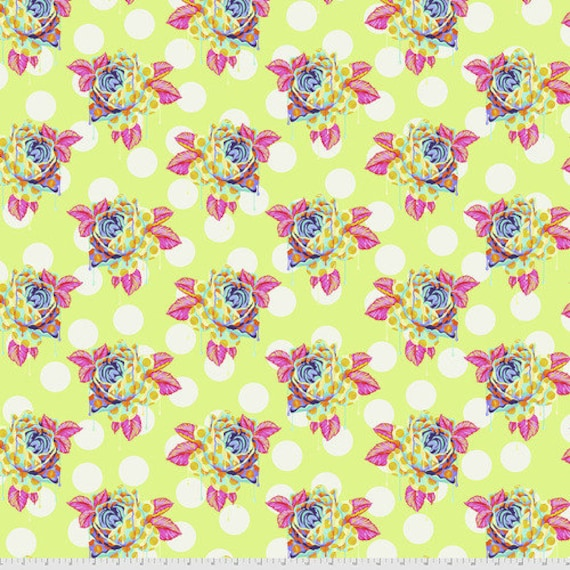 Fat Quarter Painted Roses in Sugar - Tula Pink's Curiouser and Curiouser for Free Spirit Fabrics