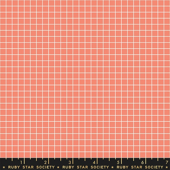 Grid -- Ruby Star Society Fabric, RS3005-36 Grid in Papaya by Kimberly Kight -- Fat Quarter
