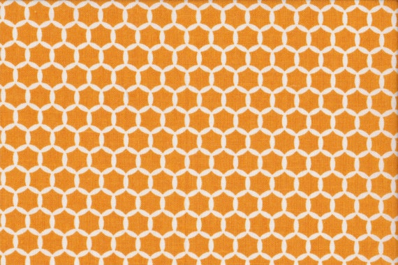 Japanese cotton fat quarter by Kei - Geostyle hexacomb dots in tangerine.