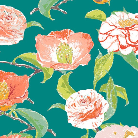 Floralish by Katarina Roccella for Art Gallery Fabrics -  Camellia in Evergreen - Fat Quarter