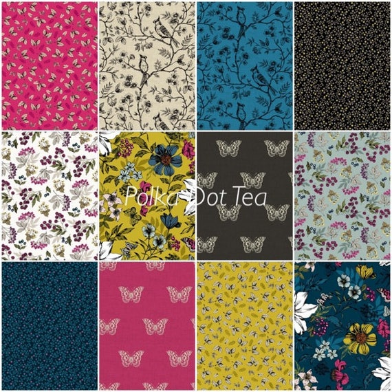 Botanica by Makower for Andover Fabrics - Fat Quarter Bundle of 12 fabrics