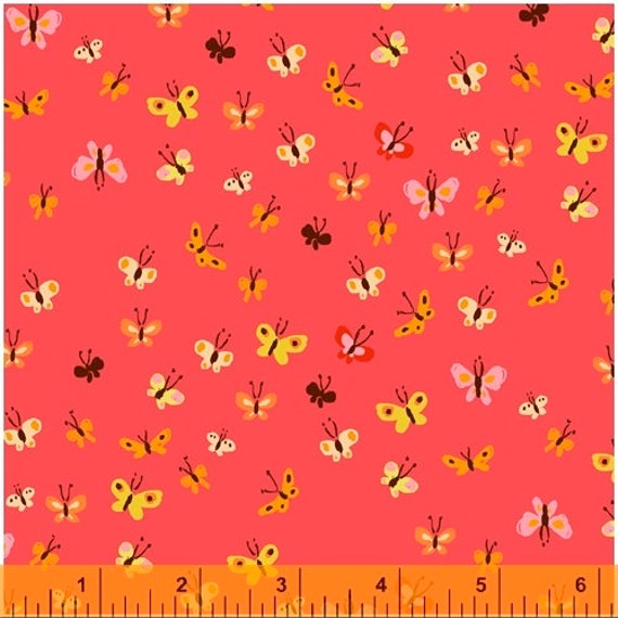 Heather Ross 20th Anniversary Collection for Windham Fabrics - Fat Quarter of Butterflies in Coral