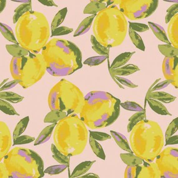 Sage by Bari J Ackerman for Art Gallery Fabrics - Yuma Lemons in Glare