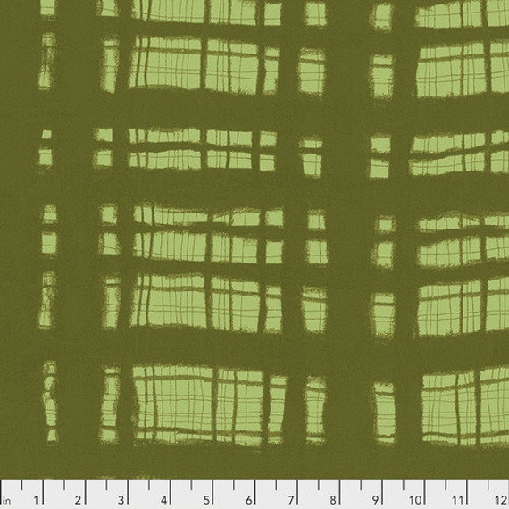 Keiko Goke's Step by Step for Free Spirit Fabrics -- Fat Quarter of Thick and Thin in Green
