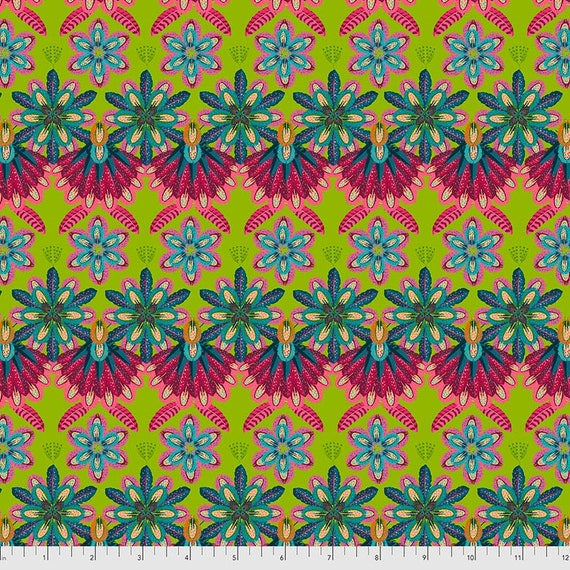 Magi Country by Odile Bailloeul for Free Spirit Fabrics - Fat quarter of Mini Plumettes in Green