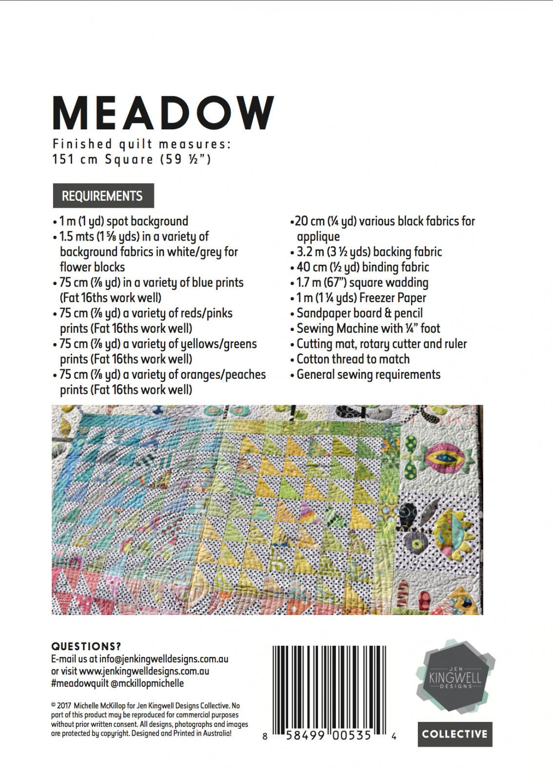 Meadow Quilt PATTERN ONLY by Michelle McKillop for Jen Kingwell Designs Applique