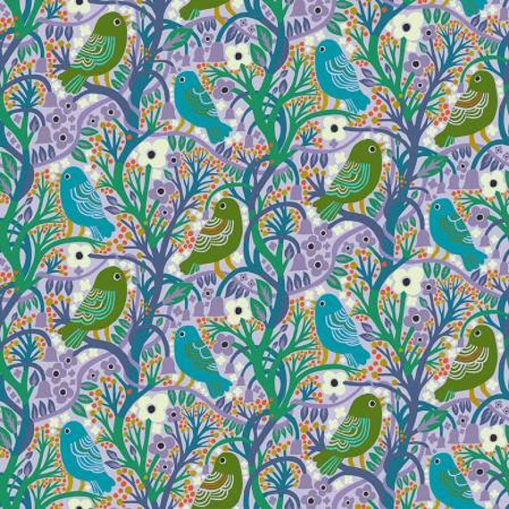 Savernake Road by Monkia Forsberg for Anna Maria Horner Conservatory with Free Spirit Fabrics - Fat Quarter Rona in Aqua