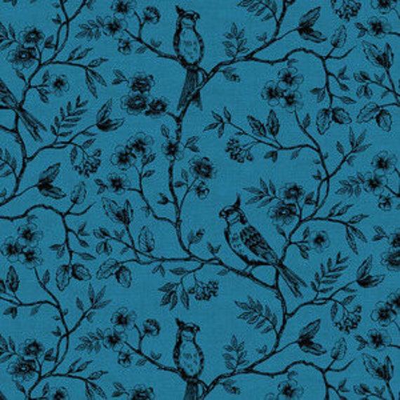 Botanica by Makower for Andover Fabrics - Birds on Vine in Blue - Fat Quarter