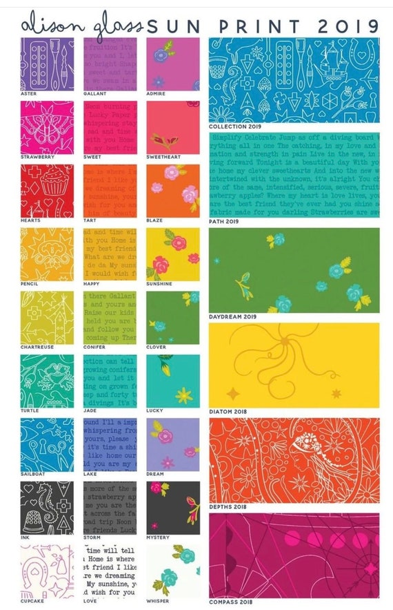 Preorder Sun Print 2019 by Alison Glass for Andover Fabrics Fat Quarter Bundle of 27