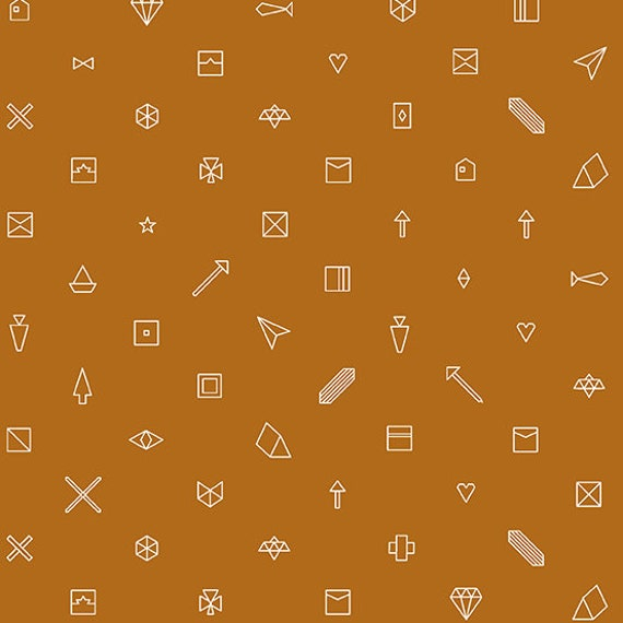 Hopscotch Century Prints by Alison Glass for Andover Fabrics - Stitched in Paprika - Fat Quarter of Trinkets in Ginger