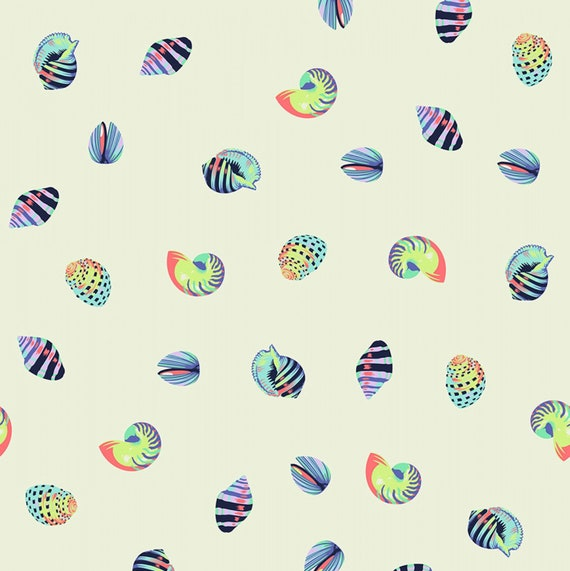 Fat Quarter Sea Shellss in Aquamarine  - Tula Pink's Zuma for Free Spirit Fabrics