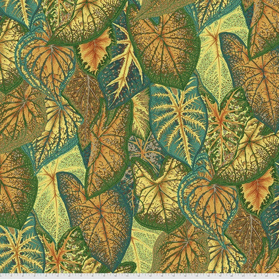 Kaffe Fassett Collective August 2021 -- Fat Quarter of Philip Jacobs Caladiums in Gold