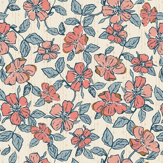 Homebody by Maureen Cracknell for Art Gallery Fabrics - Crafted Blooms Vanilla