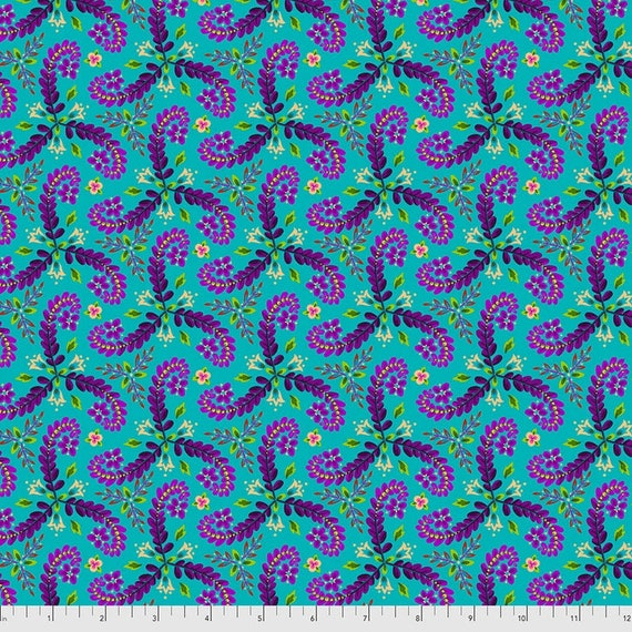 Magi Country by Odile Bailloeul for Free Spirit Fabrics - Fat quarter of Fronds in Turquoise