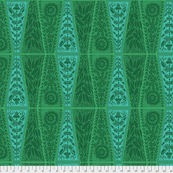 Triple Take by Anna Maria Horner for Anna Maria Horner Conservatory 4 with Free Spirit Fabrics - Fat Quarter of New Dresden Lace in Moss