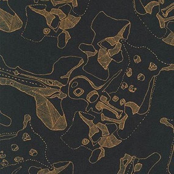 Carkai by Carolyn Friedlander -The Jumbles in Black Metallic - Fat Quarter