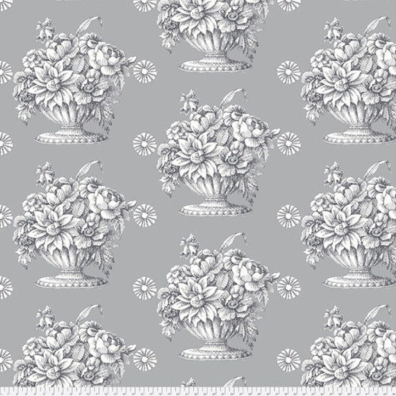 Kaffe Fassett Stone Flower in Grey-- Wide Back 108 inches - 25 cm  increment