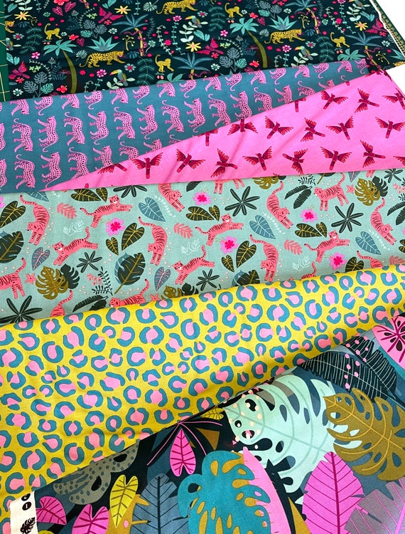 Night Jungle by Elena Essex for Dashwood Studio - Fat Quarter of Six Prints as shown in photo