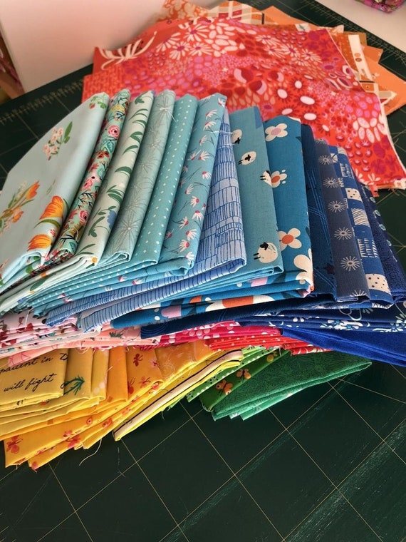 Fat 16th Rainbow bundle of various bright fabrics as shown in photo (64 in total)  inspirstion for the Meadow Quilt by Michelle McKillop