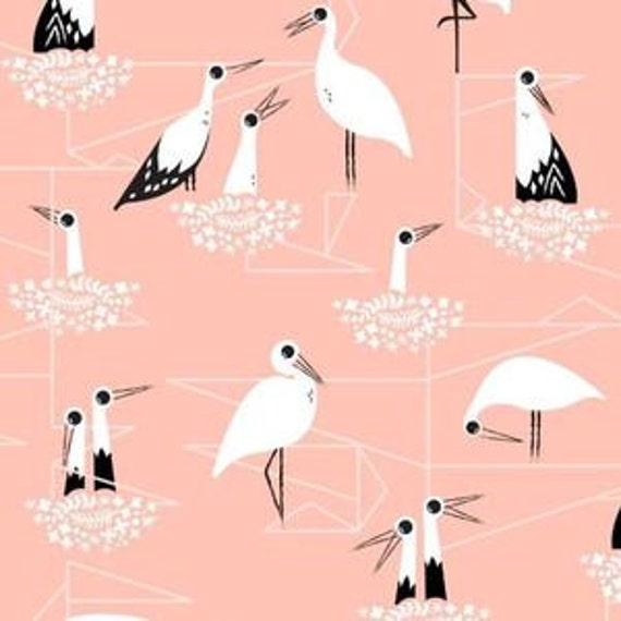 In Stock! Fat Quarter Stork Nest in Pink -- From Porto With Love by Sara Watts for Cotton and Steel