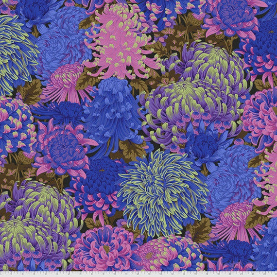 Kaffe Fassett Collective August 2021 -- Fat Quarter of Philip Jacobs Hokusai's Mums in Cool