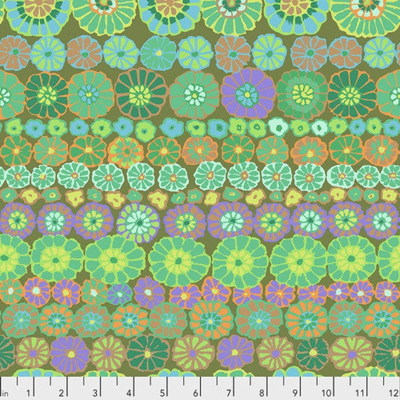 Kaffe Fassett Collective Fall 2018 -- Fat Quarter of Kaffe Fassett Row Flowers in Green