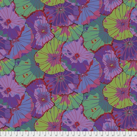 Kaffe Fassett Lotus Leaf in Purple -- Wide Back 108 inches - 25 cm  increment