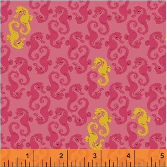 Heather Ross Mendocino for Windham Fabrics - Seahorses in Pink