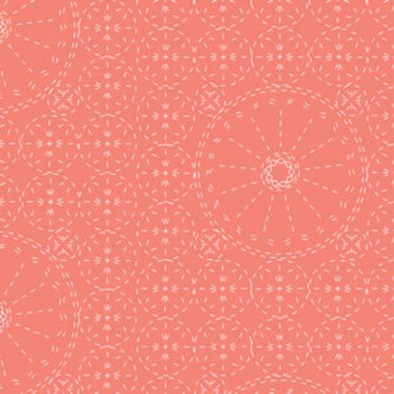 Wild Bloom by Bari J. Ackerman for Art Gallery Fabrics - Sashiko Florette in Coral - Fat Quarter