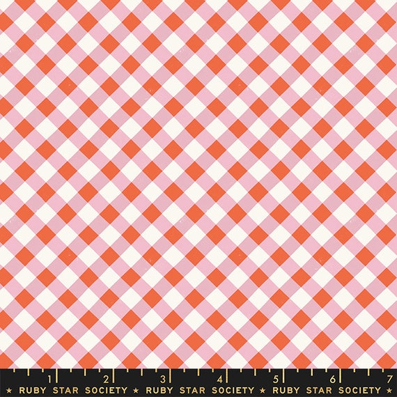 Food Group Painted Gingham in Kiss (RS5044 13) by Ruby Star Society -- Fat Quarter