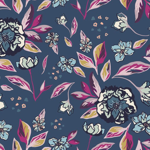 Mystical Land by Maureen Cracknell for Art Gallery Fabrics - Enchanted Flora in Ablue