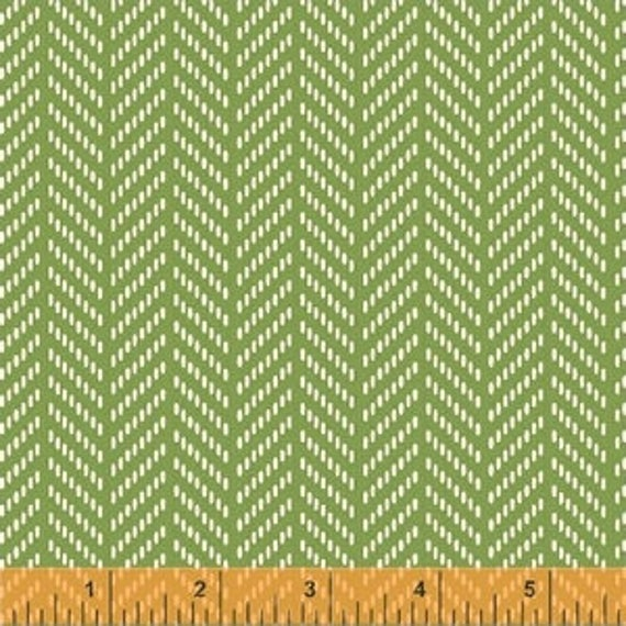 Hello Jane by Allison Harris for Windham Fabrics - Herringbone in Green - Fat Quarter