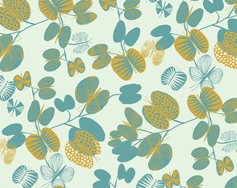 After the Rain by Bookhou for Anna Maria Horner Conservatory Chapter 3 with Free Spirit Fabrics- Fat Quarter of Butterfly Leaves in Cerulean