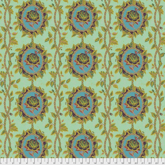 New Vintage by Kathy Doughty for Free Spirit Fabrics - Fat quarter of Charmed in Jade