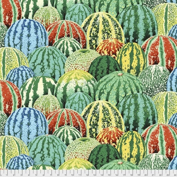Kaffe Fassett Collective August 2020 -- Fat Quarter of Philip Jacobs Watermelons in Green