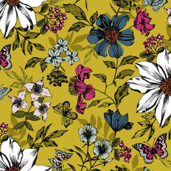 Botanica by Makower for Andover Fabrics -Botanica Exotic Floral in Yellow - Fat Quarter