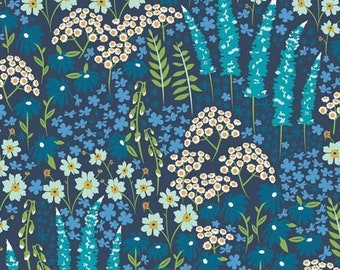 Art Gallery Blue Bank Flora in Rayon - Purchase in 25cm Increments