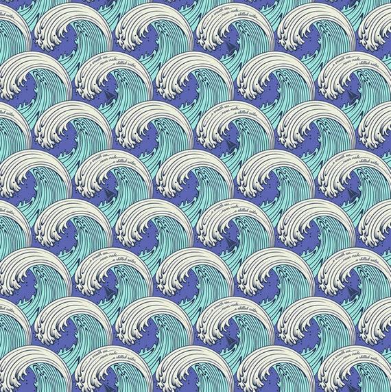 Fat Quarter White Caps in Aquamarine  - Tula Pink's Zuma for Free Spirit Fabrics