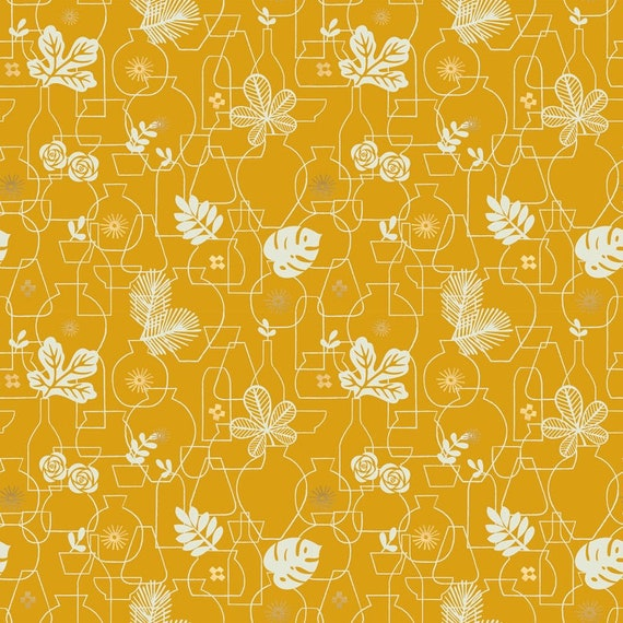 Whatnot Stuff in Potted in Goldenrod RS1015 14M by Rashida Coleman Hale - Ruby Star Society - Fat Quarter