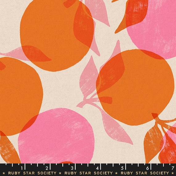 Peaches, RS5022-11L Orange, Ruby Star Society Fabric, 100% Cotton Linen Canvas -- Fat Quarter