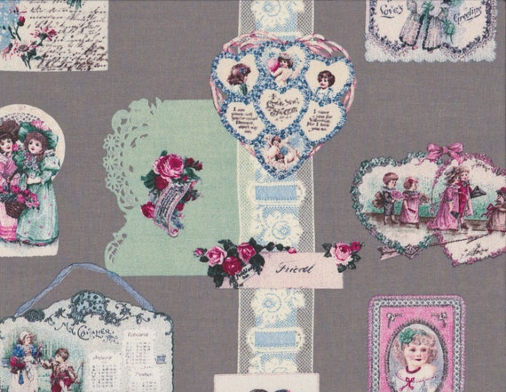 Japanese cotton fat quarter by Yuwa - Vintage collage on grey