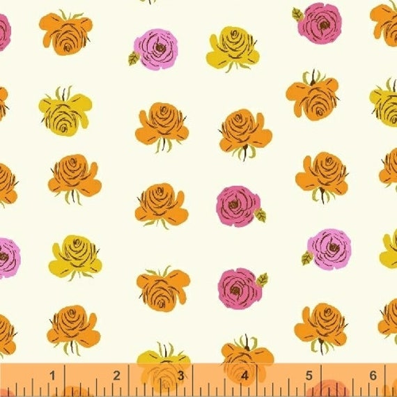 Heather Ross Far Far Away 2 for Windham Fabrics - Fat Quarter of Floral White with Pink