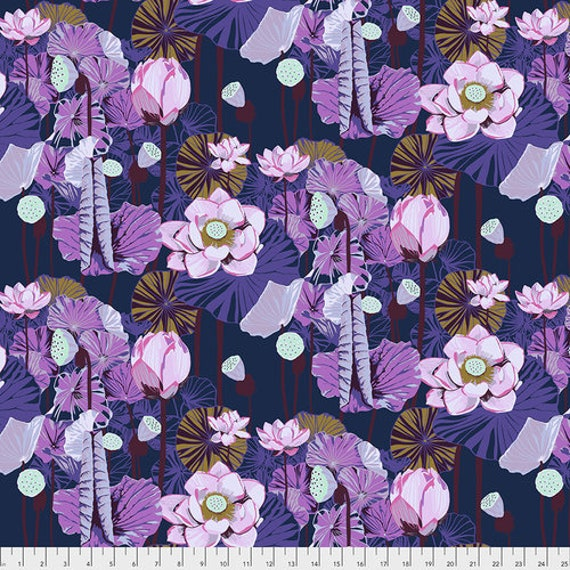 One Mile Radiant by Anna Maria Horner for Conservatory Chapter 3 with Free Spirit Fabrics- Fat Quarter of Lotus in Prussian