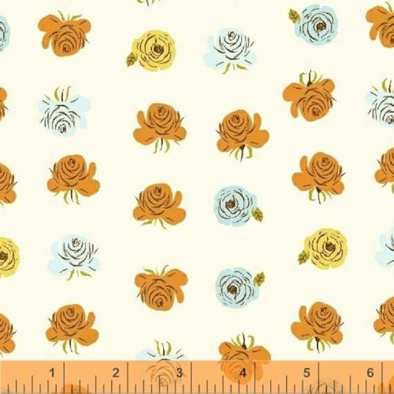 Heather Ross Far Far Away 2 for Windham Fabrics - Fat Quarter of Floral White with Blue